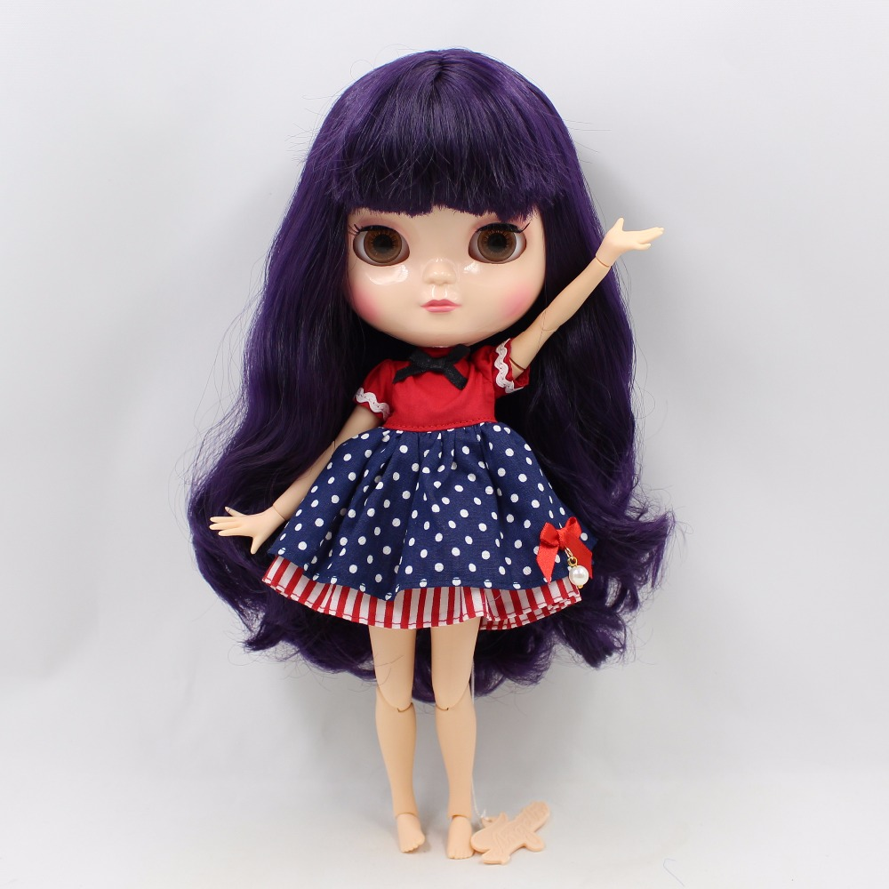 Neo Blythe Doll with Purple Hair, White Skin, Shiny Face & Jointed Azone Body 3