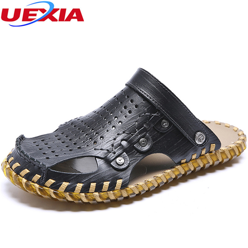 UEXIA Handmade Flats summer male breathable leather sandals slippers Sneakers Men Slippers Flip Flops Summer Shoes beach outdoor