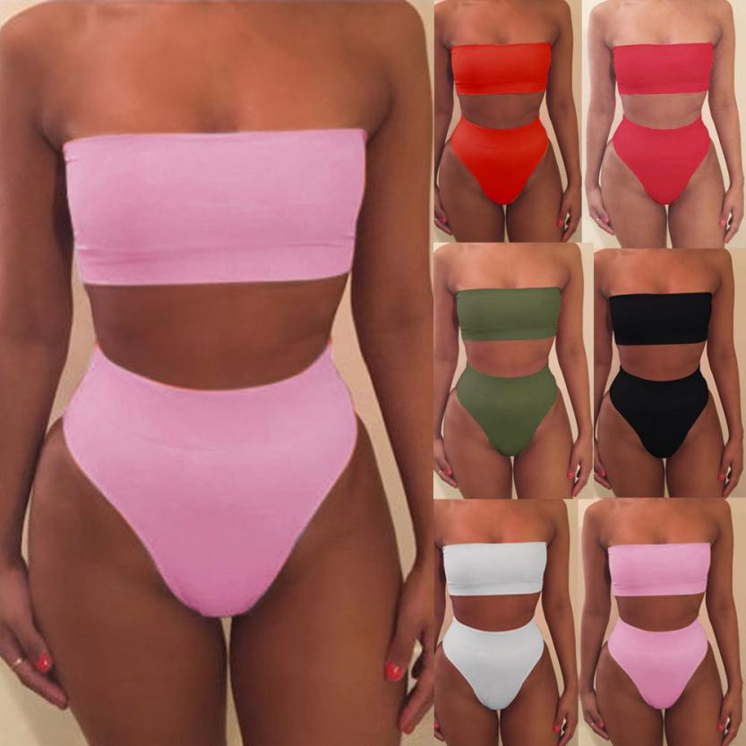 2018 Women Bandage Bikini Bra Swimsuit Bathing 2pcs Set Swimwear drop shipping