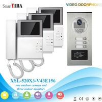 SmartYIBA 4.3inch Apartment Video Intercom System Doorphone/Doorbell Phone Video Door Phone Intercom For 3 House/Family
