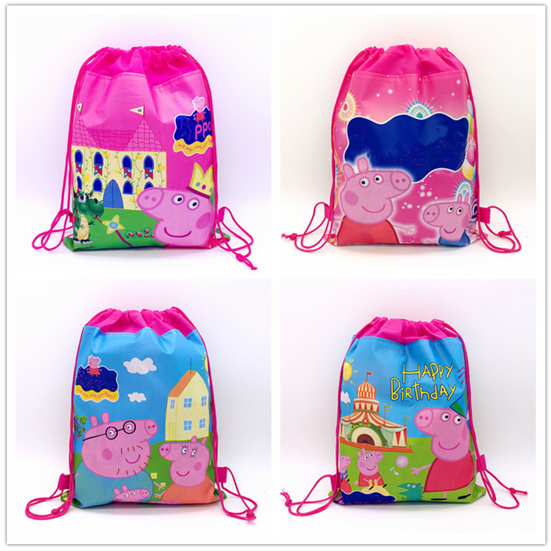 12pcs Cartoon Pink Pig Non-woven Fabric Drawstring Bags Kids Favors Theme Events Gifts T ...