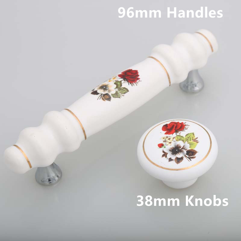 96mm fashion rural ceramic furniture handles white red flower ...