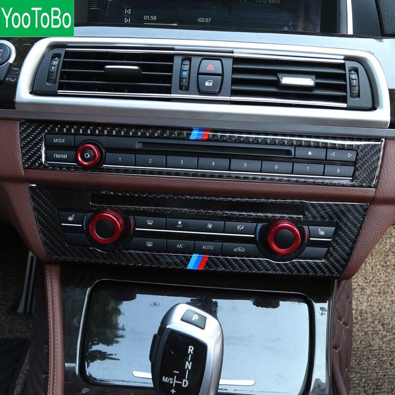 For BMW F10 5 Series Interior Trim Carbon Fiber Car CD Control Panel Stickers AC CD
