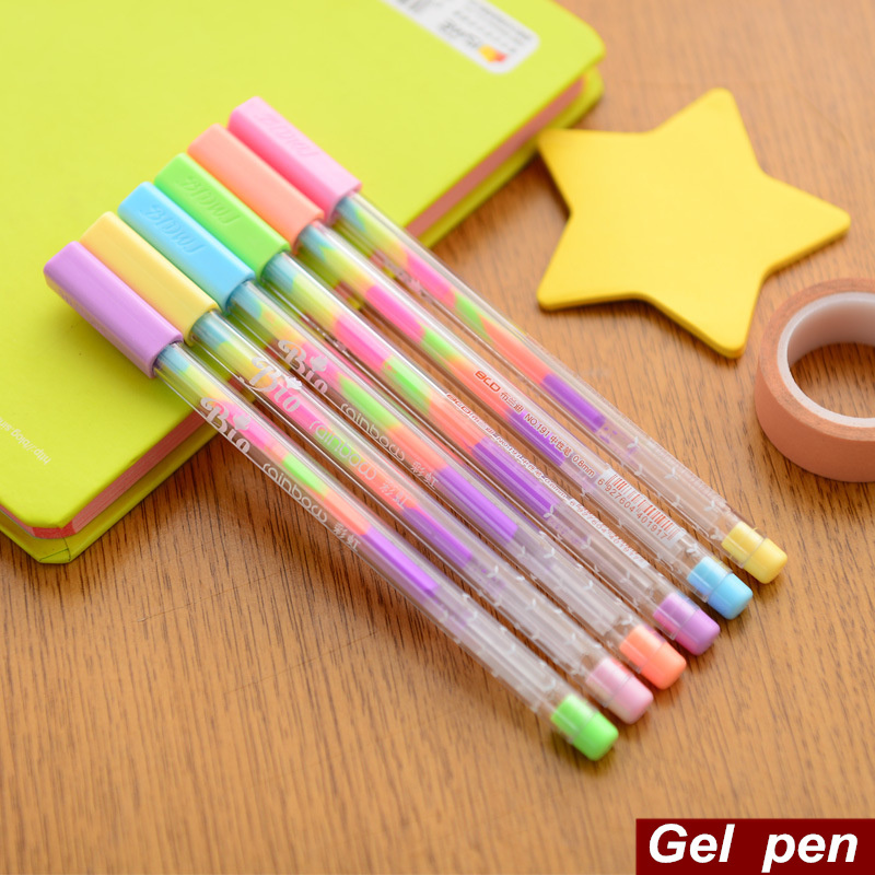 6 pcs Lot Rainbow gel pen Multi color 0.8mm roller pens Fluorescence highlighter for black paper