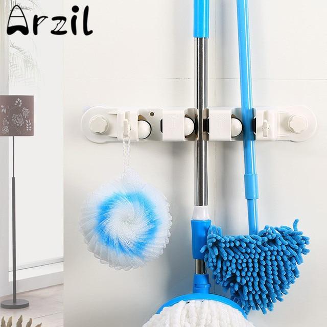 Attirant Multipurpose Mop Storage Rack ABS Mop Brush Broom Storage Holder Hanger  Household Kitchen Bathroom Cleaning Tools