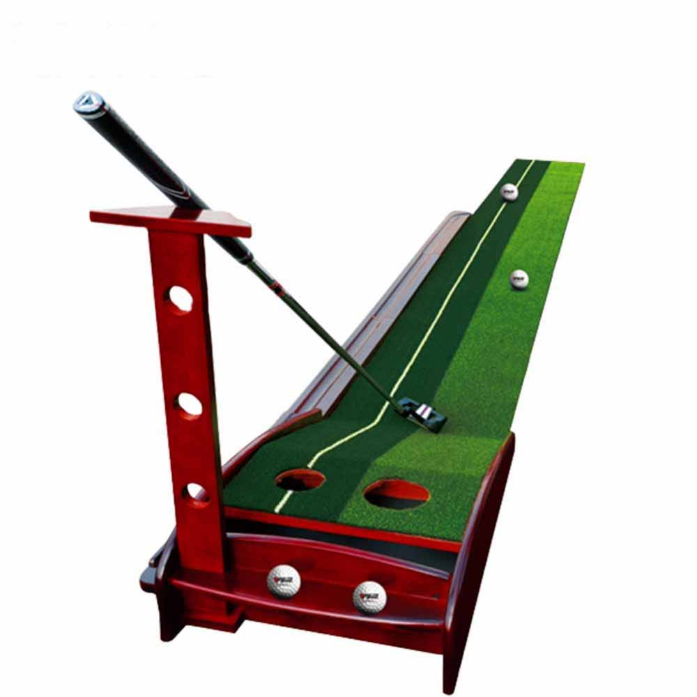 CRESTGOLF Indoor Golf Putter Trainer with Solid Wood Base Golf Putting Practice Mat with Automatic Return Fairways golf putting mat mini golf putting trainer with automatic ball return indoor artificial grass carpet