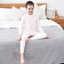 THREEGUN KIDS Children Long Thermal Underwear Kids Winter Cotton Soft Long Johns Girls Turtle Neck Nightwear sleepwear