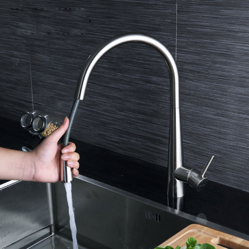 Full Copper Cold And Hot Mixer Water Faucet Kitchen Rotary Washing