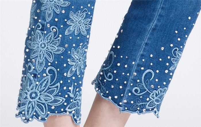 Printemps Boot Fleur Stretch Mince Grande Denim Picture Femmes Vent Féminine Taille Nationale Broderie De Cut Color Jeans rEFrCdwx0n