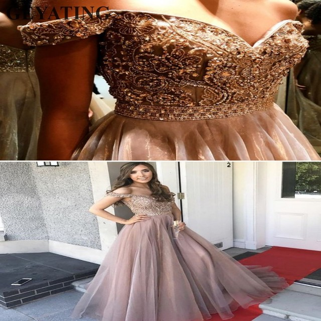 512637380f5 Elegant Champagne Tulle Long Evening Dress 2018 abiye elbise Off Shoulder  Beaded Crystal Women Formal Party Gowns Prom Dresses