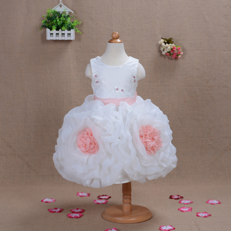 DF14 Flower Girl Christening Wedding Party Dress 2015 New Blue Pink Lilac Princess dress 3T-7T kids clothing 4 5 6 Years - APS DRESS store