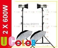 Nicefoto n600 600W X 2 Portable Studio Strobe Flash Light KIT Embeded Battery Wireless Trigger