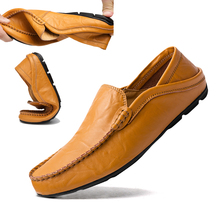 Comfortable Handmade Casual Flat Men Design Soft Bottom Leather Men's Shoe