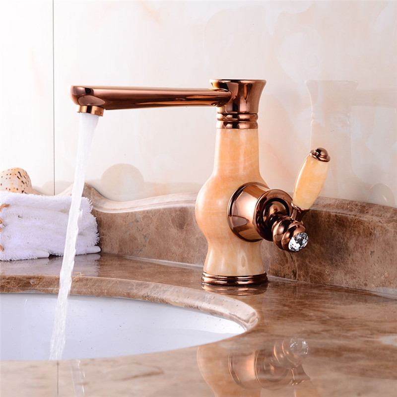 Bathroom Basin Faucet Brass Rose Gold Sink Mixer Tap Swivel 360 Degree Single Handle Jade Body Water Tap Deck Mounted Torneiras rose gold brass bathroom pull out sink faucet with natural jade marble basin mixer torneira single hole handle water tap