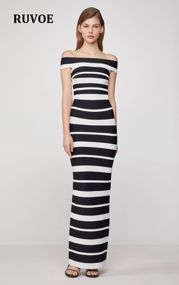 Moulante été longue Bandage robe femmes Vestido 2019 Sexy noir blanc rayé Maxi Club célébrité soirée robes Y-29