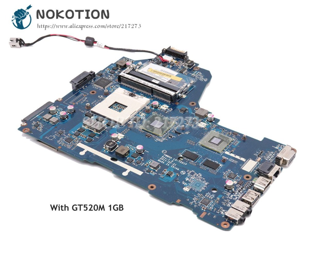 NOKOTION For Toshiba Satellite C660 Laptop Motherboard HM65 GT520M 1GB PWWHA LA 7201P K000128440 K000124390 Main Board