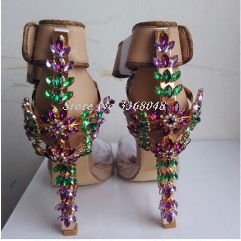 Chaussures de luxe femmes Designers pierres précieuses bijoux gladiateur sandales Transparent PVC Patchwork cadenas bride à la cheville talons hauts chaussures