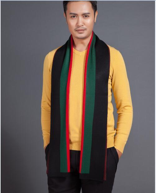 Осень и зима мужская шарф мода контрастных цветов полосы с вязаный шарф
