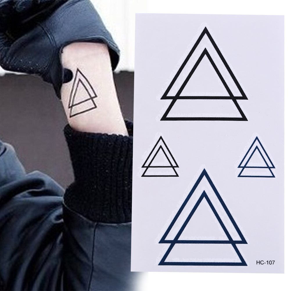 1PCS Waterproof Temporary Sticker Geometric Planet Jellyfish Tattoo Black Triangle Tattoos Body Arm Men Fake Tatoos