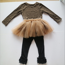 Thanksgiving days outfits brown tutus and shirts set ruffle leggings with brown t-shirts clothing set for girl holiday sets