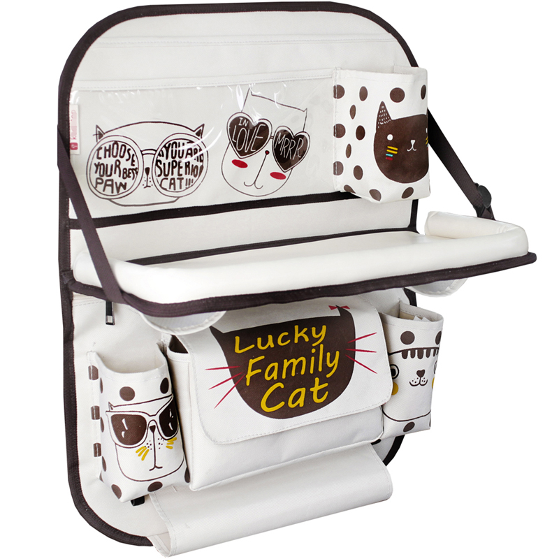 Cartoon Car Seat Back Organizer Storage Bag Oxford cloth Foldable Baby Dining Table Auto Backseat Hanging Large-capacity Holder цена 2017