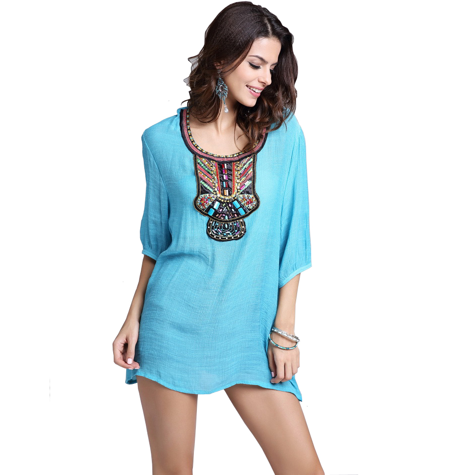Summer mexican embroidered blouse women vintage ethnic
