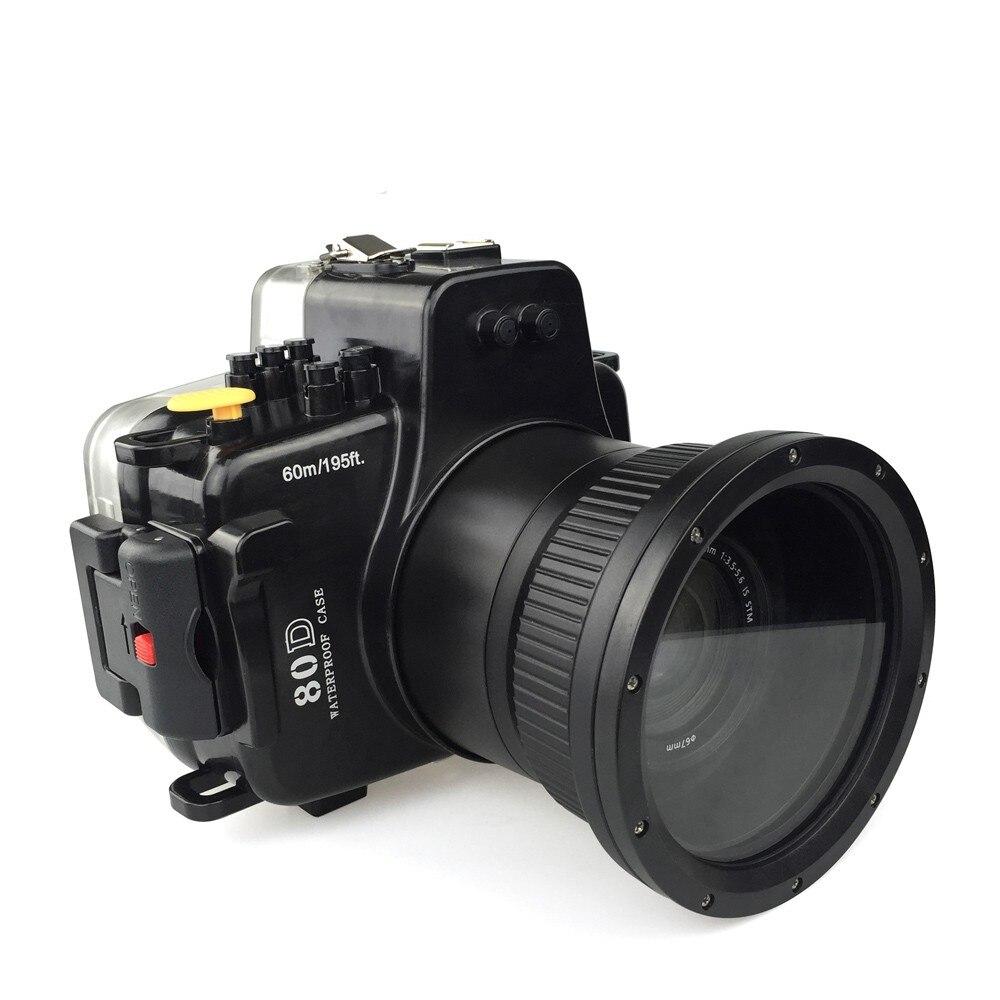 Meikon 40 m/130ft Caméra Sous-Marine Cas de Logement pour Canon EOS 80D, caméra Étanche Sacs Cas pour Canon EOS 80D Caméra