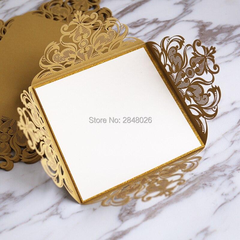 50pcs Gold Glitter Wedding Invite, Laser Cut Wedding Invitation,customized  Wedding Invitations, Personalized