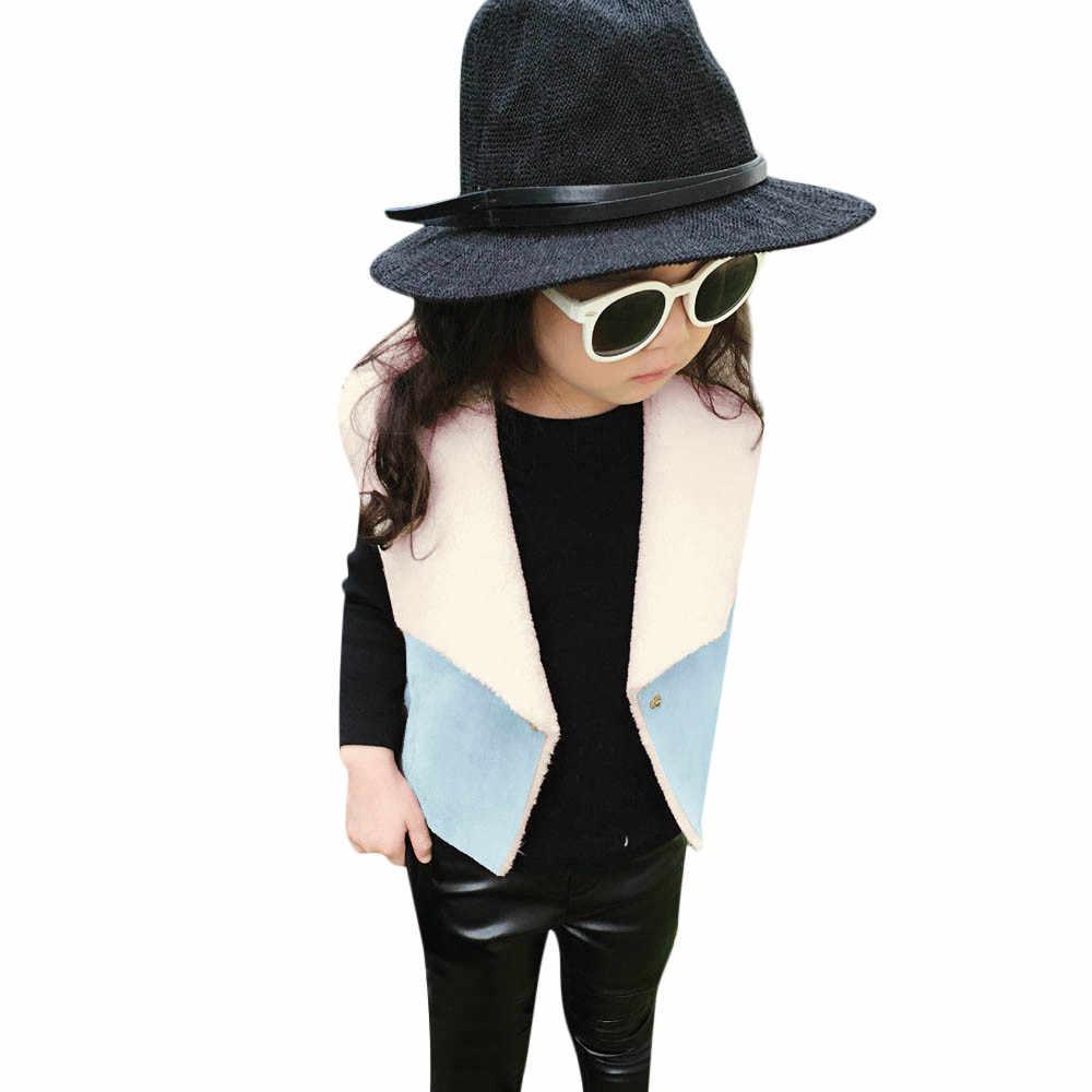 Otoño e invierno, chaquetas de algodón para niñas, chaleco cálido para niñas, niñas, ropa de invierno para niñas, chaleco de piel sintética, abrigo, prendas de vestir