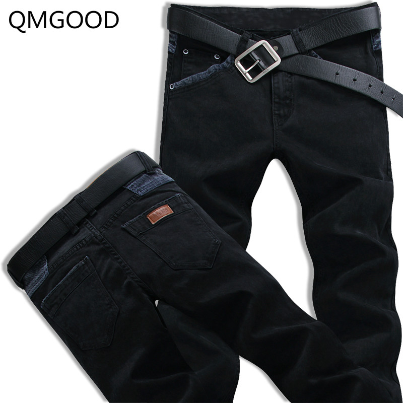 QMGOOD Autumn Winter Fashion Mens Jeans Slim Fit Stretch Elastic Black Jeans Men Denim Casual Pants Brand Men Jeans Hot Sales autumn new arrival 2017 jeans pants afs jeep elastic mens straight men black mid risef slim fit men s casual fashion men s jeans