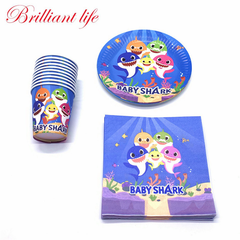60Pcs/Lot Baby Shark Theme Child Birthday Party Decoration Cup Plate Napkins Baby Shower Tableware For Family Party Supplies60Pcs/Lot Baby Shark Theme Child Birthday Party Decoration Cup Plate Napkins Baby Shower Tableware For Family Party Supplies