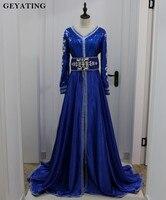 2018 Арабский Кафтан Королевский синий Дубай вечернее платье одежда с длинным рукавом v образным вырезом Исламская кафтан официальная Вечери