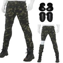 2019 камуфляж байкерские джинсы для езды Разделение прикрепляющийся к локомотив защита с рыцарем брюки для 4 сезона с обновление до колена набедренная защита
