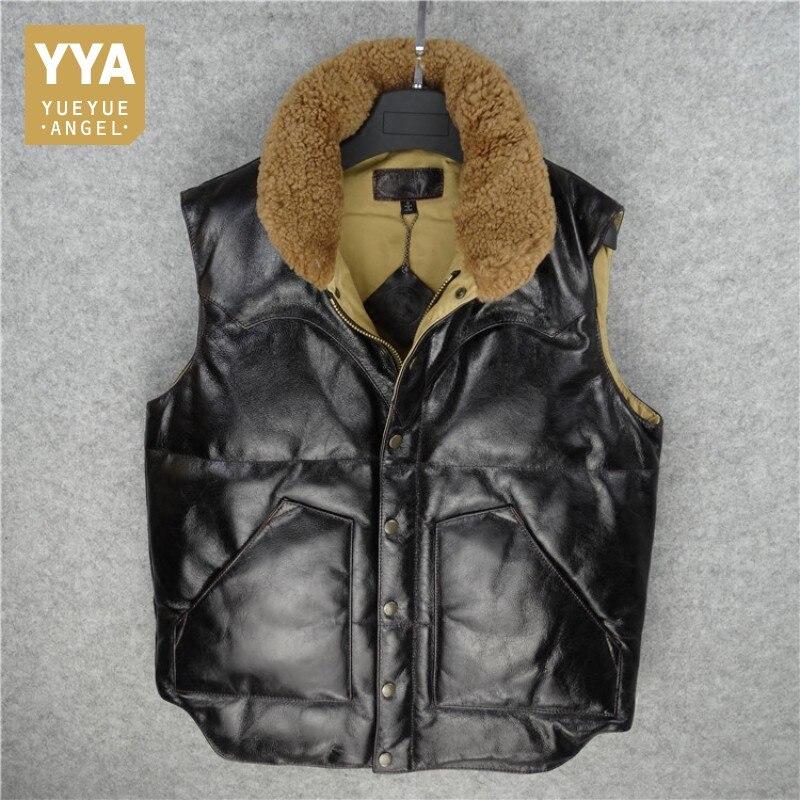 Harajuku для мужчин Зимняя шерстяная одежда воротник 90% белая утка подпушка куртка без рукавов Байкер пояса из натуральной кожи жилет повседне