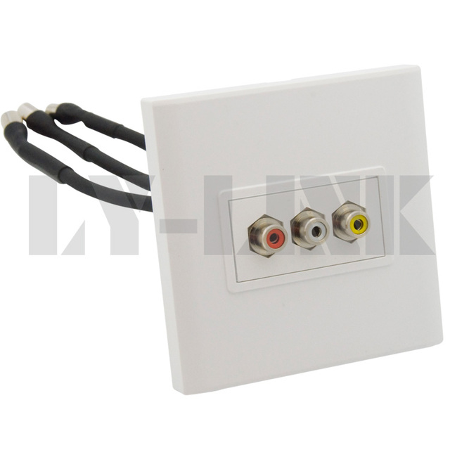 av 3rca with short cable wall plate support diy in extension socket rh aliexpress com Home Audio Wall Plates Component Wall Plate