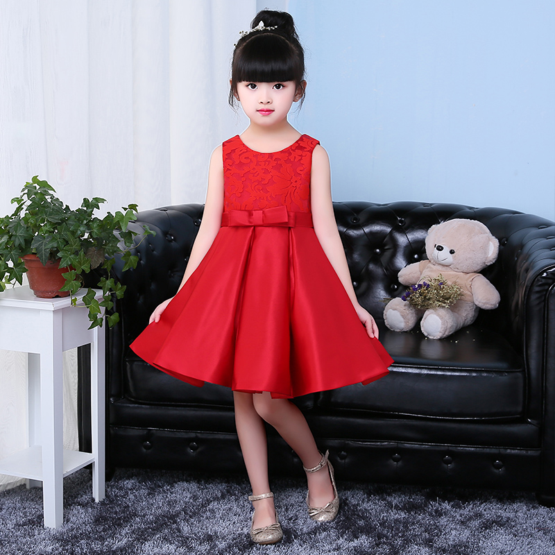 купить 2017 Baby Girl Clothes Weddings Pageant Red Lace Embroidery Communion Dress Sequin Children Bridesmaid Ball Gown Birthday Dress дешево