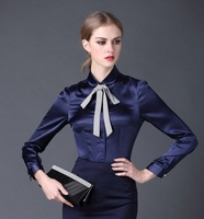 2016 New Satin Shirt Women Long Sleeve Peter Pan Collar Silk Blouses Women Work Wear Uniform