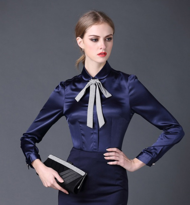 Fantastic Red White Women Fashion Office Blouse Satin Blouses Women Work Wear