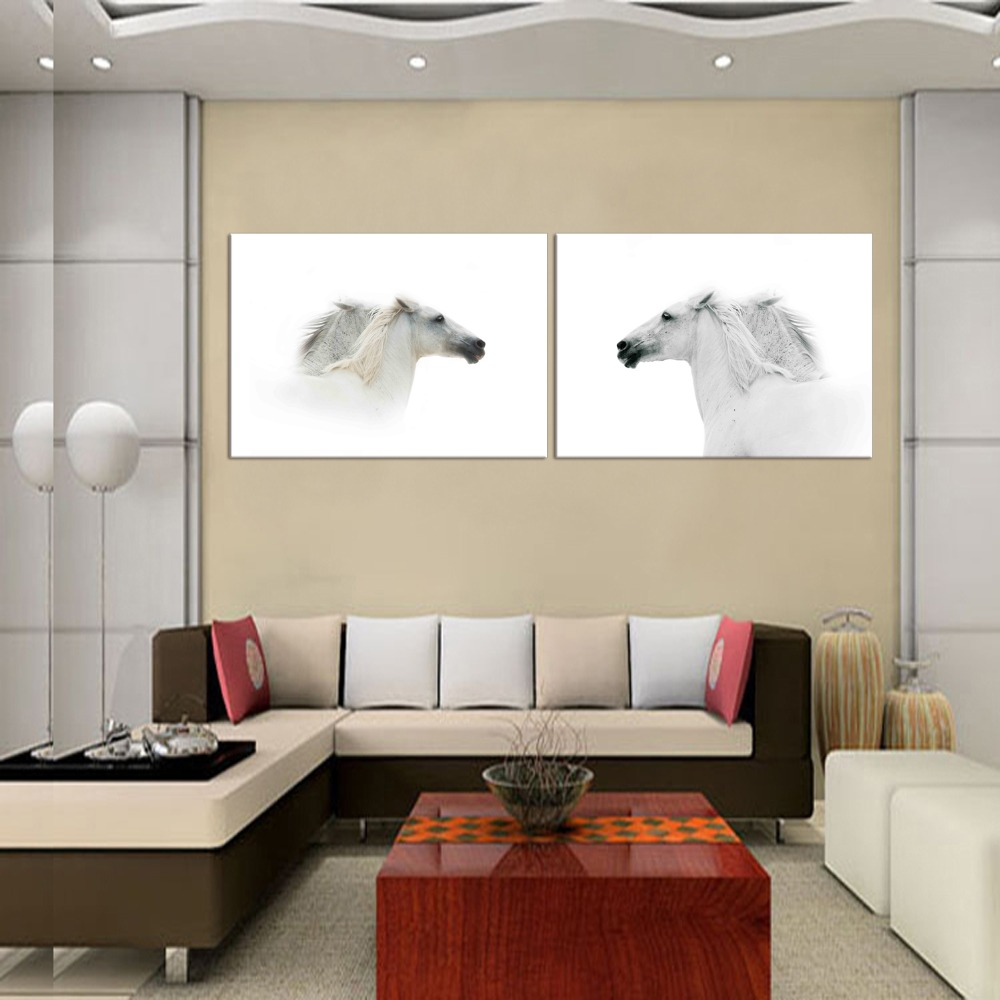 2 Panel White Horse Wall Pictures For Living Room Home Office Decor ...