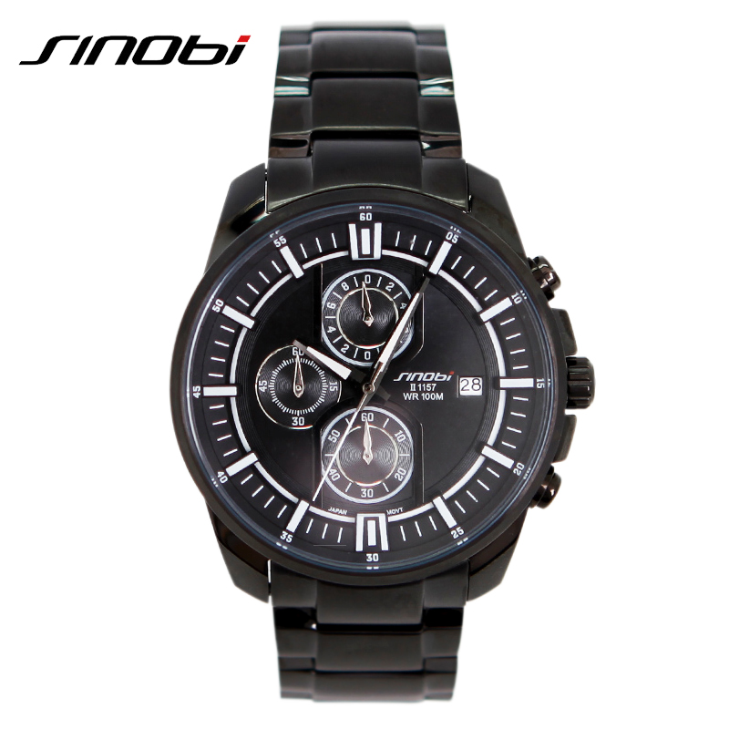 SINOBI Seconds Display Multifunction Men Watch Complete Calendar Stainless Steel Band Mens Watch Waterproof 10 ATM Watches Men календарь магнитный на 2018 спас на крови небо крупный 10 16см кмспб 18 13