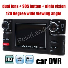 Wholesale prices 2.7 inch Car Camera Dual Lens F30 Night Vision HD Car DVR Vehicle Camcorder digital Video Recorder 120 degree wide viewing angle
