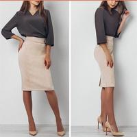 OSOL Sexy Suede Pencil Skirt Women 2017 Fashion Elastic High Waist Office Ladys Skirts 2018