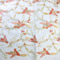 Phoenix Bird Embroidered Sequin lace Fabric for wedding dress