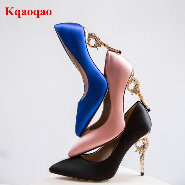 Pointed Toe Gold Metal Decor Fashion Shallow High Heels Brand Runway Star Women  Pumps Satin Funky Heels Wedding Party Stiletto 20fc2d85ef52