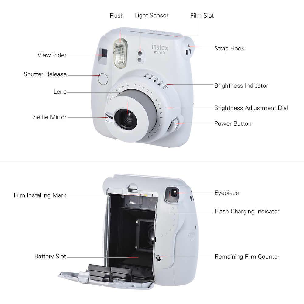 Novo 5 cores fujifilm instax mini 9 câmera instantânea foto + 14 em 1 kit saco de vídeo caso protetor filtro álbum adesivo