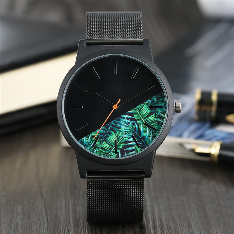 BUsiness Man Wrist Watch Green Leaves Dial Sport Outdoors Quartz Watches Stainless Steel Band Strap and Case Casual Simple Malse fashion noctilucent wrist watch modern desgin sport men circle round dial quartz watches stainless steel band strap males reloj
