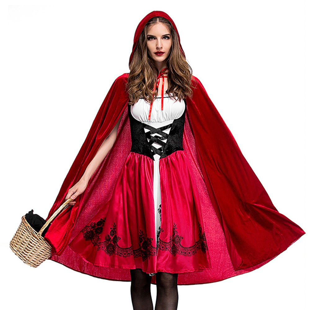 Halloween Victorian Dress With Cloak Cosplay Costumes Witch Clothes Women Medieval Masquerade Costume Red Fancy Corset Dress