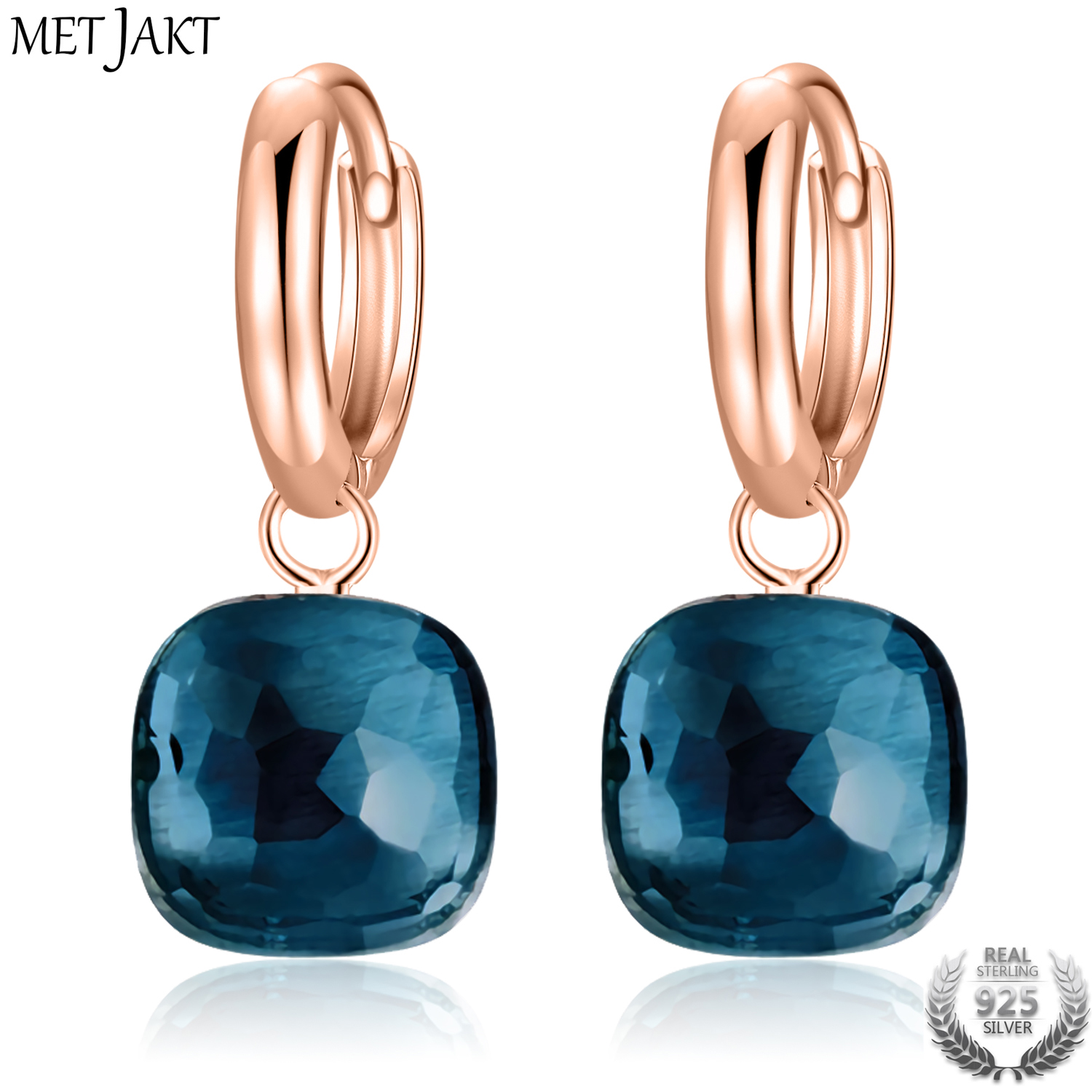 MetJakt Fashion London Blue Topaz Earrings Solid 925 Sterling Silver and Rose Gold Color Earring for Women Gift  Fine Jewelry(China)