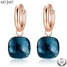MetJakt Fashion London Blue Topaz Earrings Solid 925 Sterling Silver and Rose Gold Color Earring for Women Gift  Fine Jewelry metjakt natural oval clear moonstone drop earrings solid 925 sterling silver hook earring opal for women s fine jewelry