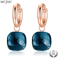 MetJakt Fashion London Blue Topaz Earrings Solid 925 Sterling Silver and Rose Gold Color Earring for Women Gift Fine Jewelry
